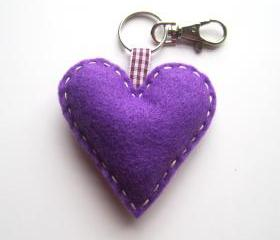 Purple Love Heart Keyring Charm