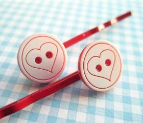 Love Heart Button Hair Clips